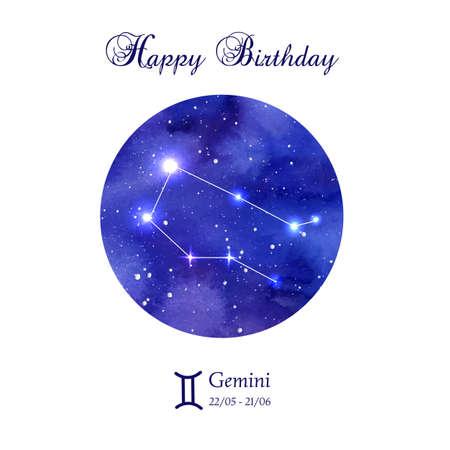 astrologer: Happy birthday greeting card. Zodiac constellation. Gemini. The Twins. illustration Illustration