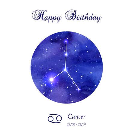 cancer crab: Happy birthday greeting card. Zodiac constellation.  Cancer. The Crab. illustration