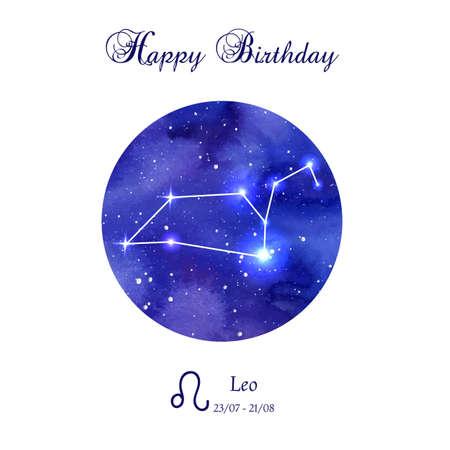 astrologer: Happy birthday greeting card. Zodiac constellation. Leo. The Lion. illustration