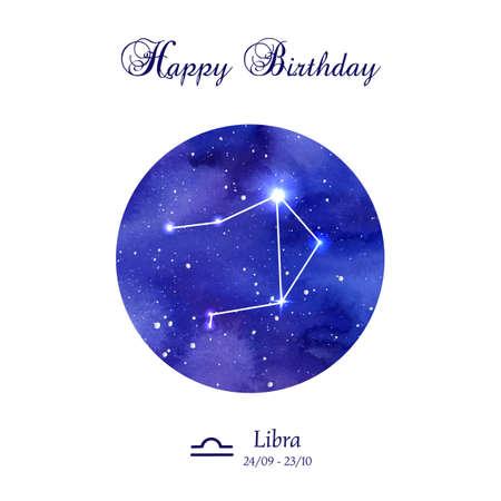 Alles Gute zum Geburtstag Grußkarte. Zodiac Konstellation. Waage. Die Waagen. Illustration Vektorgrafik