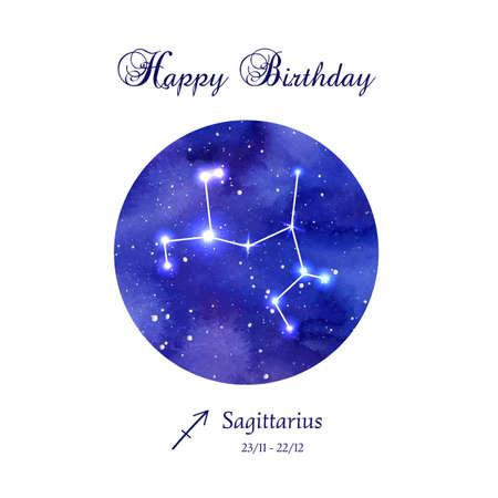 astrologer: Happy birthday greeting card. Zodiac constellation.  Sagittarius. The Archer. illustration Illustration