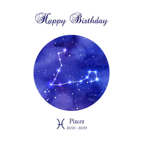 astrologer: Happy birthday greeting card. Zodiac constellation. Pisces. The Fish. illustration Illustration