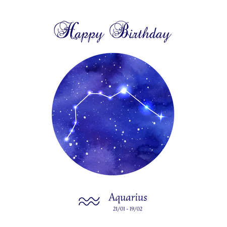 Happy birthday greeting card. Zodiac constellation. Aquarius. The Water-bearer. illustration