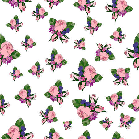 elegantly: Rose vintage seamless pattern with lilac flowers. Vector illustration