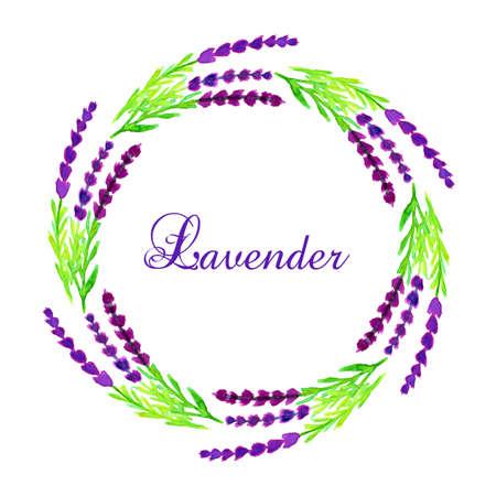 lllustration: Watercolor lavender frame. Vector lllustration Illustration