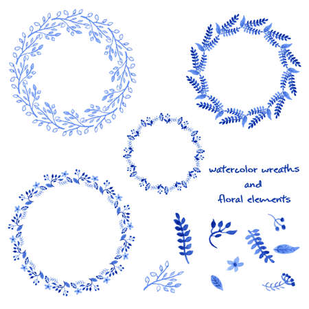 circle flower: Watercolor Wreaths and floral elements. Vector Illustration