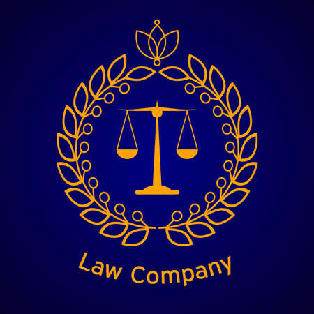firms: Law company justice scale. Illustration