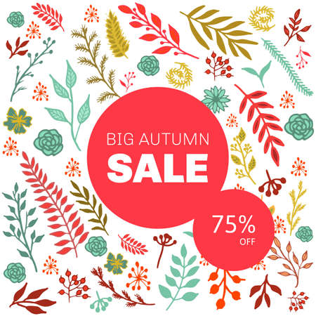 leafage: Autumn sale floral pattern with leaves and branches. Vector illustration