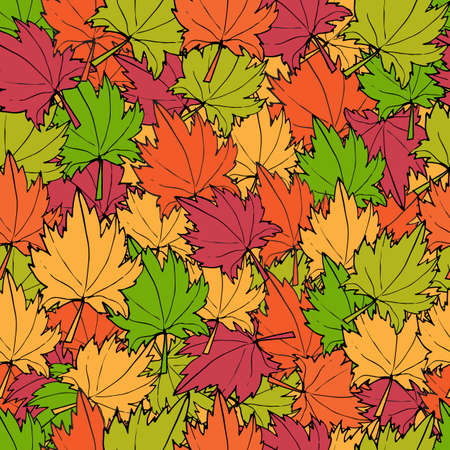 Autumn maple leaves seamless pattern. Vector background