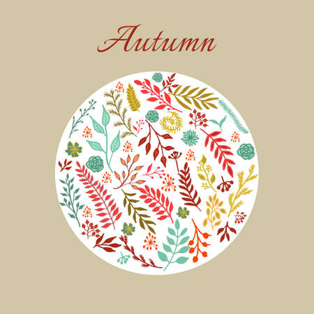 branches with leaves: Autumn round floral pattern with leaves and branches. Vector illustration