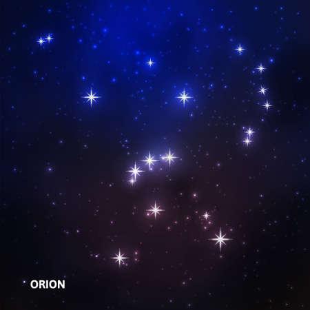 Constelación de Orión en el cielo estrellado de la noche. Ilustración vectorial Foto de archivo - 69483922