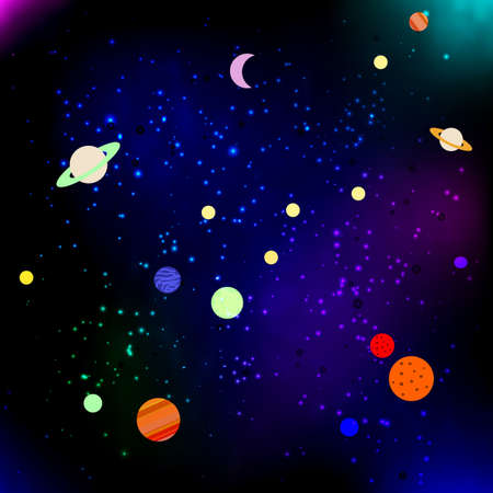 Stars and planets in Space. Vector illustration Illustration