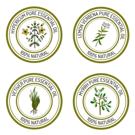 Set of essential oil labels: hypericum, lemon verbena, myrrh, vetiver. Vector illustration