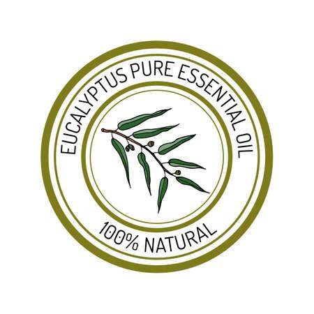 eucalyptus: eucalyptus, essential oil label, aromatic plant. Vector illustration