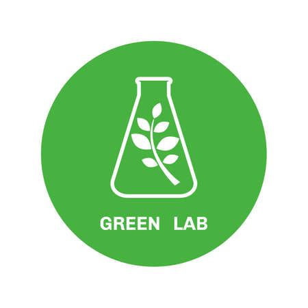 cristaleria: Laboratory glassware and leaves,  ecology vector logo