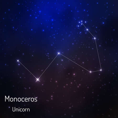 Monoceros constellation in the night starry sky. Vector illustration