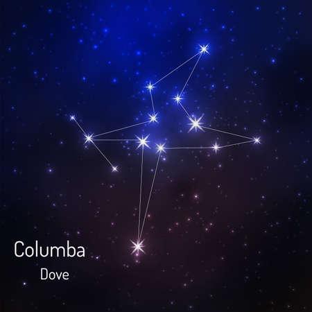 Constelación de Columba en el cielo estrellado de la noche. Ilustración vectorial Foto de archivo - 73578997