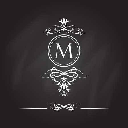 Monogram design elements. Vector emblems for logos and ornamental design. Illustration