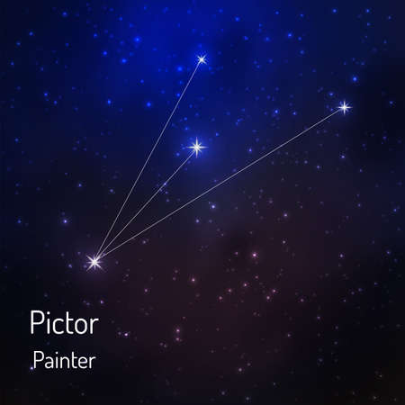Pictor constellation in the night starry sky. Vector illustration Illustration