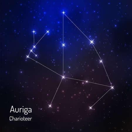 夜の星空のぎょしゃ座の星座。ベクトル図