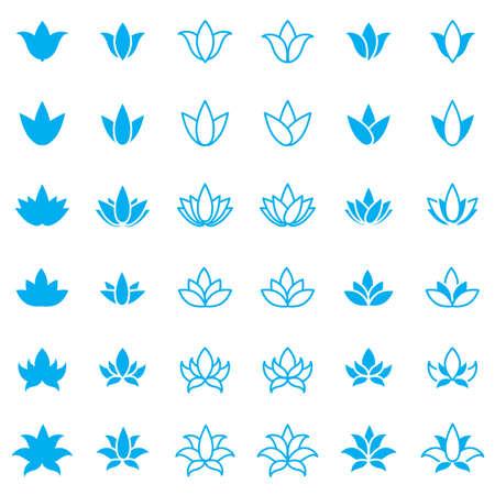 massage symbol: Lotus flower icon set for spa salon, yoga class or wellness industry. Vector Illustration