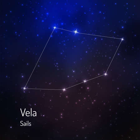Vela (Sailsl) constellation in the night starry sky. Vector illustration