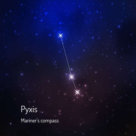Pyxis (Mariner's compass) constellation in the night starry sky. Vector illustration