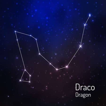 Draco (Dragon) constellation in the night starry sky. Vector illustration