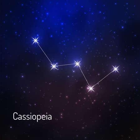 Cassiopeia constelación en el cielo nocturno estrellado. Ilustración del vector Foto de archivo - 73016323