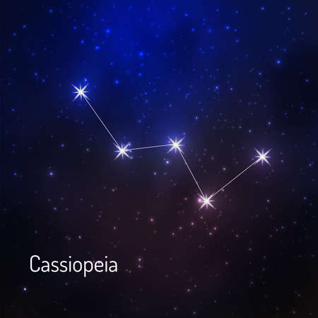 Cassiopeia constellation in the night starry sky. Vector illustration