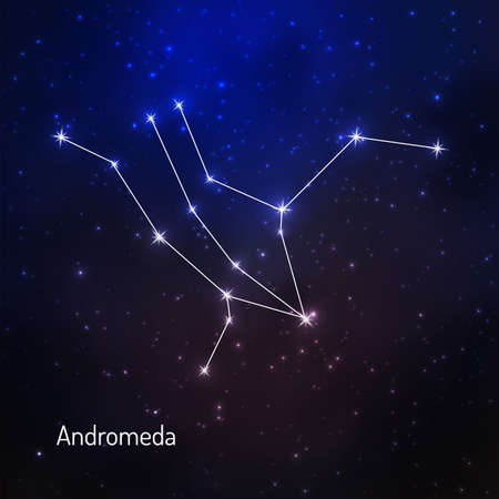 Andromeda constellation in the night starry sky. Vector illustration