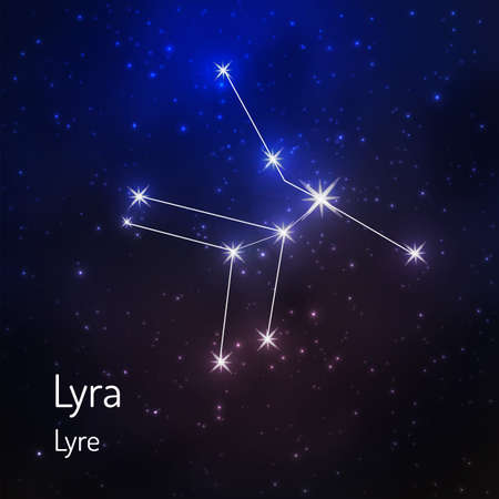 Lyra constellation in the night starry sky. Vector illustration