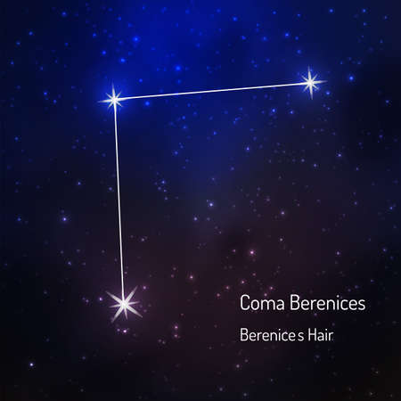 Coma berebices (Berenices hair) constellation in the night starry sky. Vector illustration Ilustracja