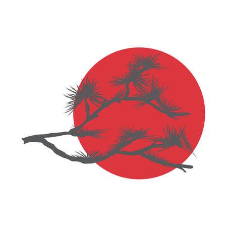 Pine branch and red sun, symbol of Japan. Vector illustration Illustration