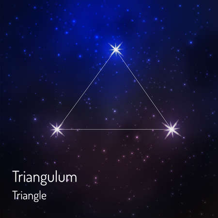 Triangulum (Triangle) constellation in the night starry sky. Vector illustration 版權商用圖片 - 73022614