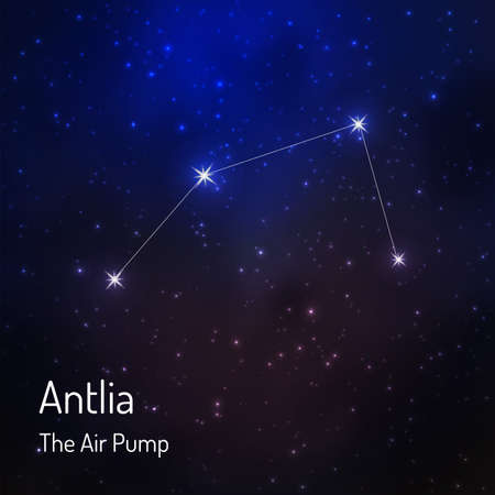Antlia (Air pump) constellation in the night starry sky. Vector illustration