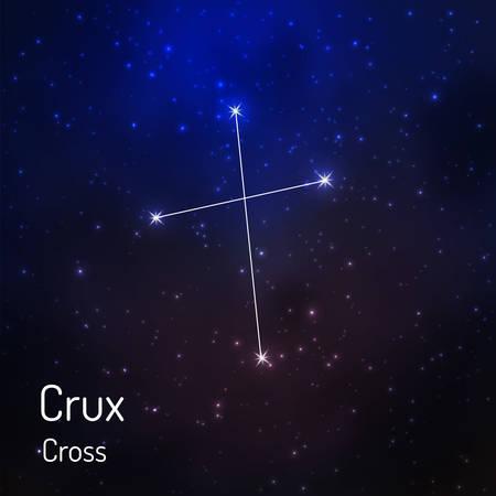 夜の星空の核心 (クロス) 星座。ベクトル図