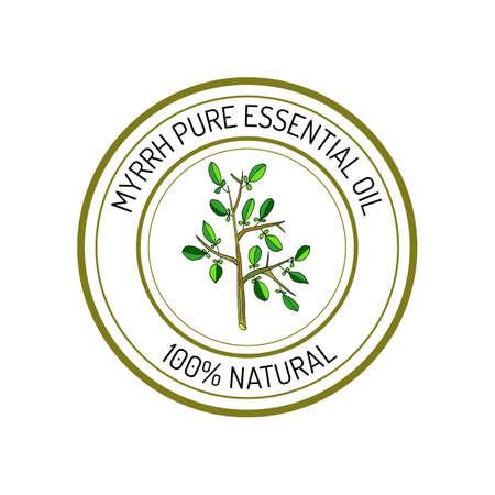 Myrrh, essential oil label, aromatic plant. Vector illustration