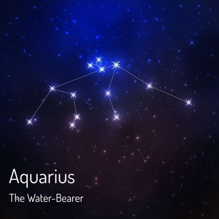 Aquarius (the water-bearer) constellation in the night starry sky. illustration