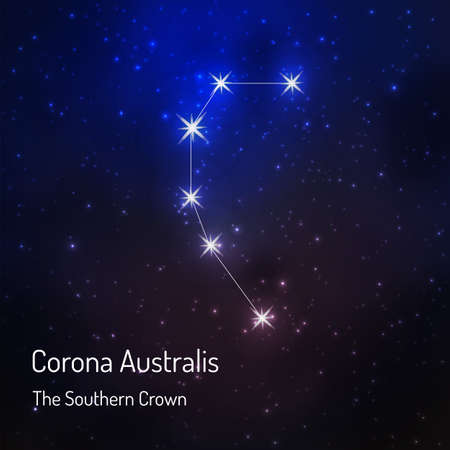 Corona Australis (Southern crown) constellation in the night starry sky. illustration