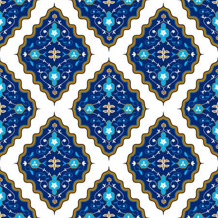 唐草と花の要素と東洋のシームレスなパターン。図