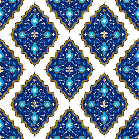 Oriental seamless pattern with arabesque and floral elements. illustration