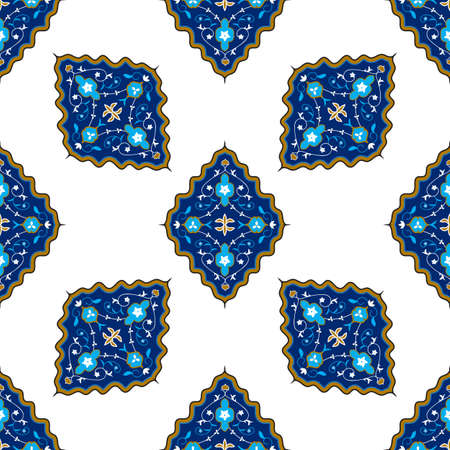 Oriental seamless vector pattern with damask, arabesque and floral elements Illustration