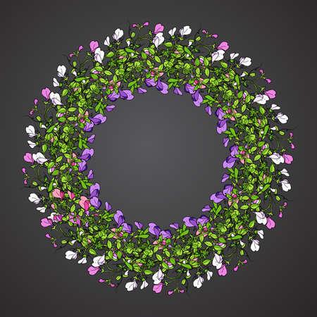 Sweet pea wreath in black background.