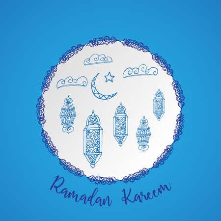 Ramadan greetings card in blue.