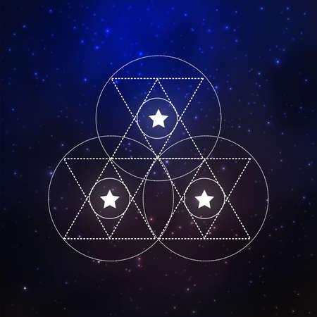 sacral: Sacral geometry design elements on a cosmic background. Vector illustration Illustration