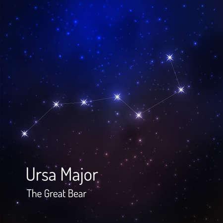 Great Bear (Ursa major) constellation in the night starry sky. Vector illustration