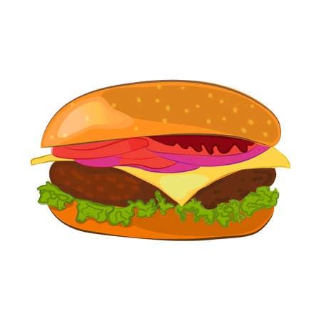 Hamburger with meat, lettuce, cheese, onion, tomato. Vector cartoon style illustration for poster, menus, banner