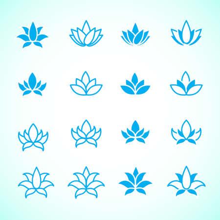 Lotus flower logo assorted icons set. Vector illustration. Illustration
