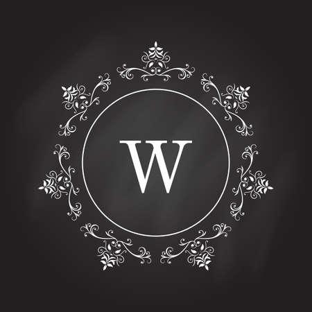 Monogram logo template. Identity design for shop, restaurant, beauty salon, boutique or hotel. Vector illustration